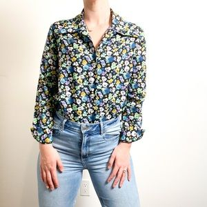 Vintage Women's Floral Blouse Silky Long Sleeve